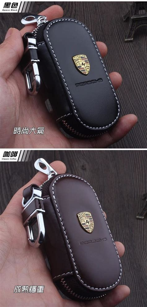 Leather Car Keychain Key Fob Case Cover For Porsche